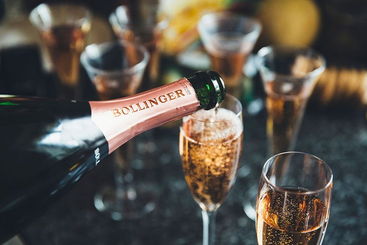 Bollinger Champagne |  Stylish Modern Marquee Wedding at Priory Cottages in the Yorkshire Dales | Leanne Jade Photography