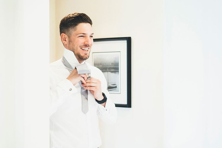 Groom Getting Ready | Stylish Modern Marquee Wedding at Priory Cottages in the Yorkshire Dales | Leanne Jade Photography