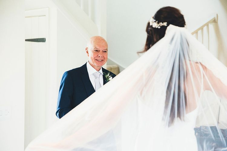 Father of The Bride First Look | Bride in Design Your Own Gown by Karen Willis Holmes | Stylish Modern Marquee Wedding at Priory Cottages in the Yorkshire Dales | Leanne Jade Photography