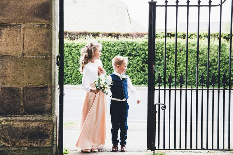 Flower Girl & Page Boy | Stylish Modern Marquee Wedding at Priory Cottages in the Yorkshire Dales | Leanne Jade Photography