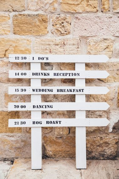 DIY Wedding Sign |  Stylish Modern Marquee Wedding at Priory Cottages in the Yorkshire Dales | Leanne Jade Photography