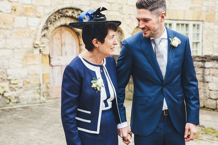 Groom in Navy Hackett Suit | Mother of the Groom | Stylish Modern Marquee Wedding at Priory Cottages in the Yorkshire Dales | Leanne Jade Photography