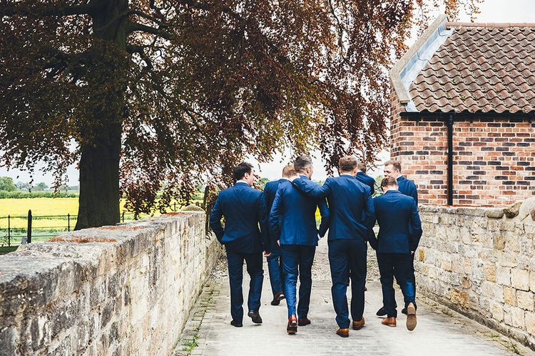 Groomsmen in Navy Suits | Stylish Modern Marquee Wedding at Priory Cottages in the Yorkshire Dales | Leanne Jade Photography