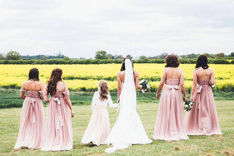 Design Your Own Gown By Karen Willis Holmes | Bridesmaids in Blush Pink 'Olivia' TH&TH Dresses | Stylish Modern Marquee Wedding at Priory Cottages in the Yorkshire Dales | Leanne Jade Photography