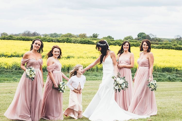 Bridal Party | Bridesmaids in Blush Pink 'Olivia' TH&TH Dresses | Bride in Design Your Own Gown By Karen Willis Holmes | Stylish Modern Marquee Wedding at Priory Cottages in the Yorkshire Dales | Leanne Jade Photography