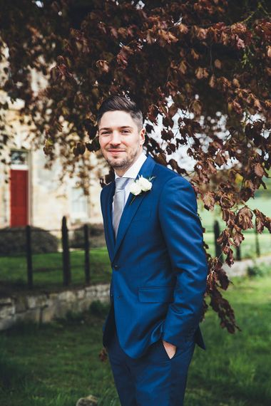 Groom in Navy Hackett suit | Stylish Modern Marquee Wedding at Priory Cottages in the Yorkshire Dales | Leanne Jade Photography
