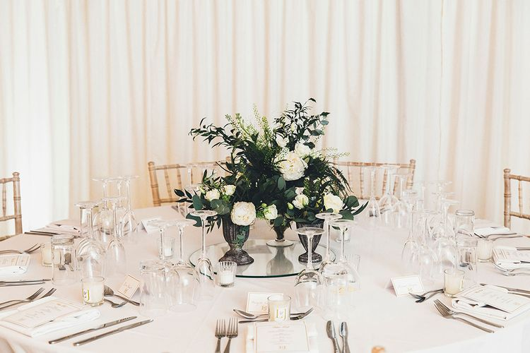 White & Green Floral Centrepiece | Stylish Modern Marquee Wedding at Priory Cottages in the Yorkshire Dales | Leanne Jade Photography