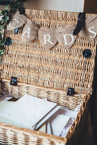 Wicker Basket Card Box | Stylish Modern Marquee Wedding at Priory Cottages in the Yorkshire Dales | Leanne Jade Photography