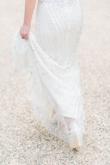 Bride in Jenny Packham Dallas, Beaded Wedding Dress
