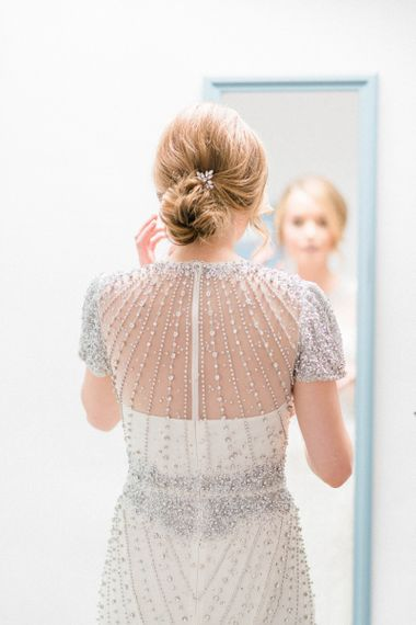 Bride in Jenny Packham Dallas Beaded Wedding Dress and Bridal Updo
