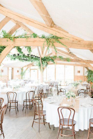 Cripps Barn Wedding Reception with Foliage Wedding Decor