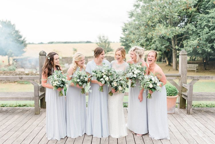 Bridal Party with Bridesmaids in Grey M&S Dress and Bride in Jenny Packham Dallas Beaded Wedding Dress