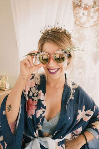 Sunglasses made by bride's friend