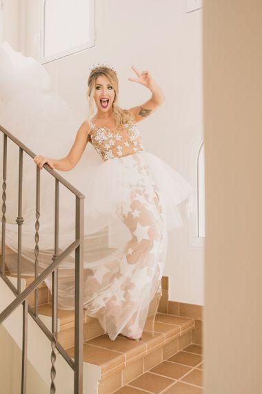 Tulle star modern peplum ballgown dress by Alejandro Resta