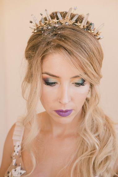 Iridescent makeup on bride