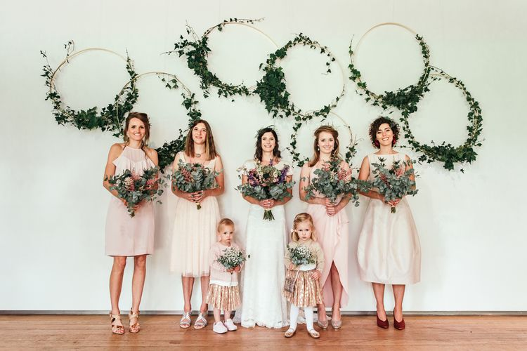 Foliage Hoops For Wedding // Dry Hire Wedding Venue Dilston Grove London With Bride In Sally Lacock And Groom In Mr Start With Images From Joasis Photography