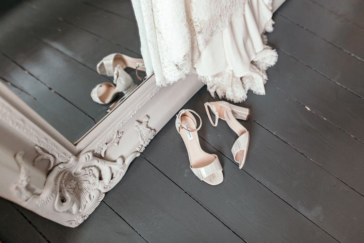 LK Bennett Wedding Shoes // Dry Hire Wedding Venue Dilston Grove London With Bride In Sally Lacock And Groom In Mr Start With Images From Joasis Photography