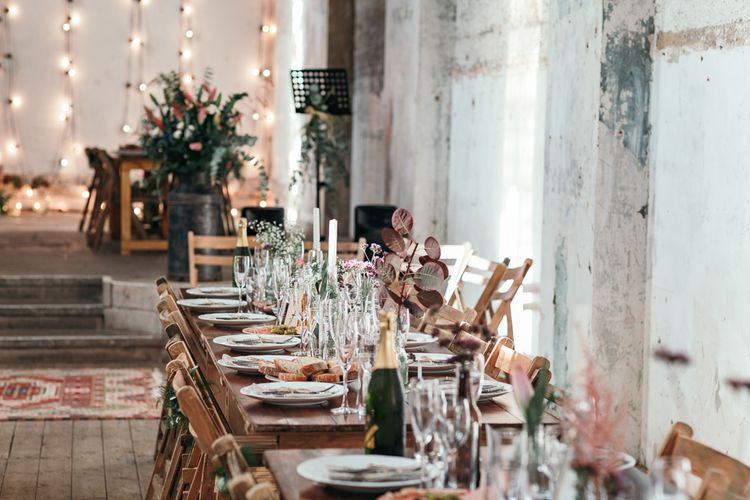 Wooden Trestle Tables For Wedding // Dry Hire Wedding Venue Dilston Grove London With Bride In Sally Lacock And Groom In Mr Start With Images From Joasis Photography