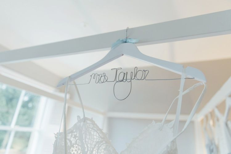 Personal Bridal Hanger for Dress   Made With Love Ella Dress   French Rustic at Northbrook Park in Surrey   Images by Charlotte Bryer-Ash
