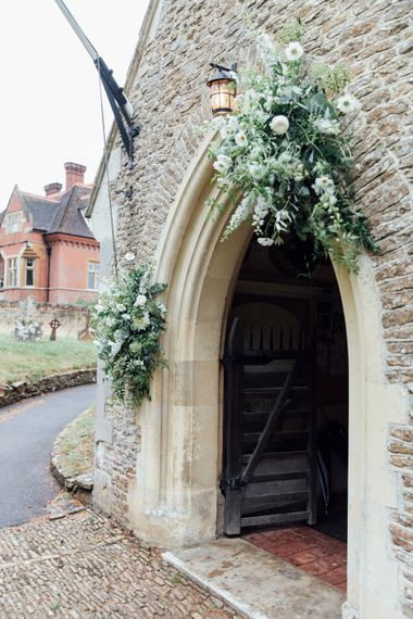 White Blooms and Green Foliage   Church Wedding Flower Decor   French Rustic at Northbrook Park in Surrey   Images by Charlotte Bryer-Ash