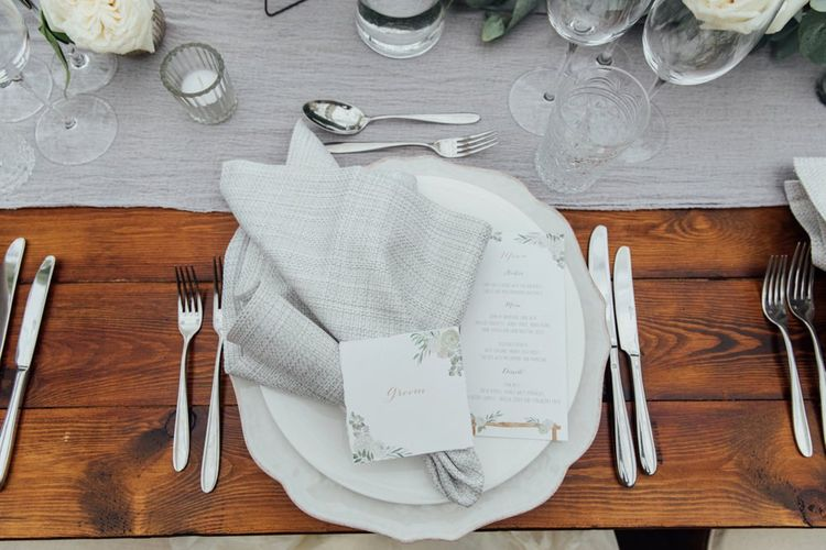 Dove Grey Table Runner | French Rustic at Northbrook Park in Surrey | Images by Charlotte Bryer-Ash