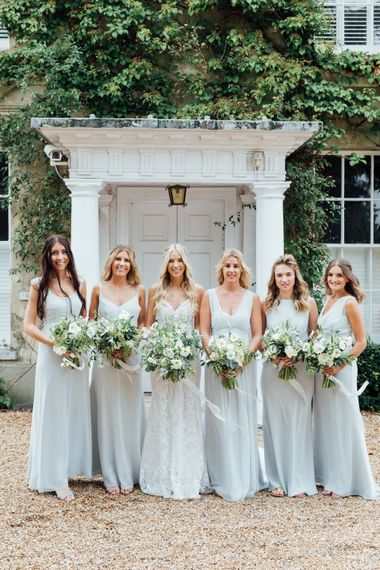 Maids to Measure in Dove Grey | White Blooms and Green Foliage | Made With Love Ella Dress | French Rustic at Northbrook Park in Surrey | Images by Charlotte Bryer-Ash