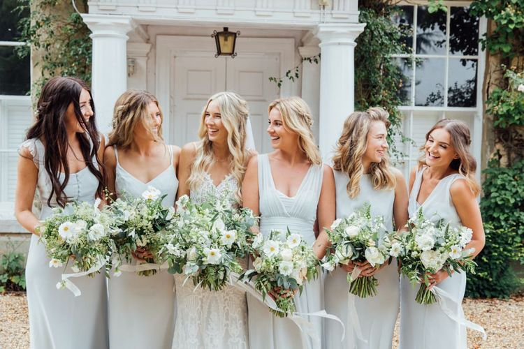 Maids to Measure in Dove Grey   White Blooms and Green Foliage   Made With Love Ella Dress   French Rustic at Northbrook Park in Surrey   Images by Charlotte Bryer-Ash