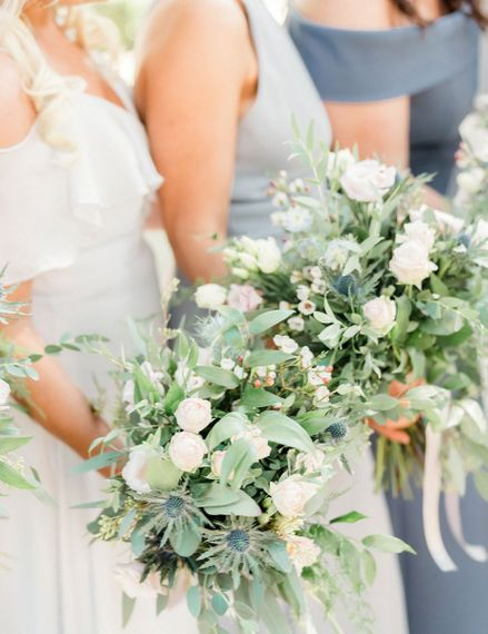 Bridesmaid bouquets with foliage and flowers