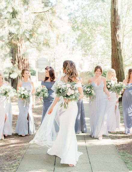 Bridal Party portrait with bridesmaids in different coloured dresses