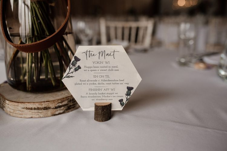 Hexagonal Doric Menu Cards