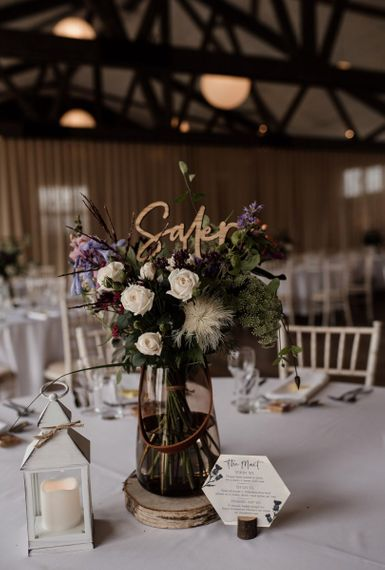 Rustic Floral Centrepiece  with Wooden Table Name Sign