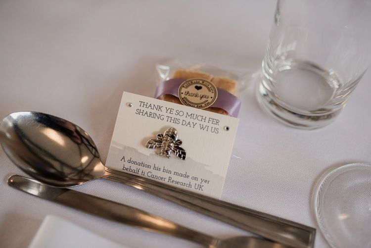 Cancer Research Wedding Favour with Doric Writing