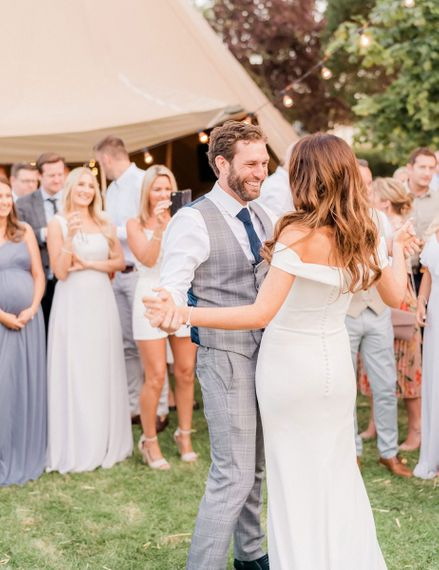 Outdoor First dance at teepee wedding