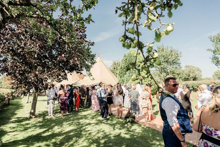 At home teepee wedding reception