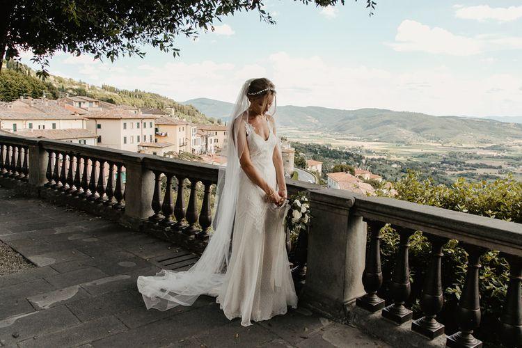 Bride in Lace David Fielden Wedding Dress   Monastery Wedding at Monastero San Silvistro Cortona Tuscany   Joe Burford Photography