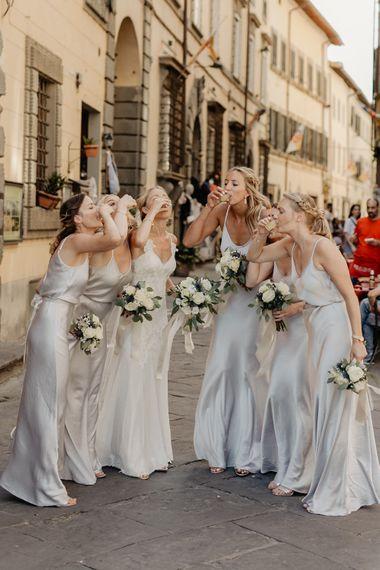 Bridal Party   Bride in Lace David Fielden Wedding Dress   Bridesmaids in Spaghetti Strap Grey Ghost Satin Dresses   Monastery Wedding at Monastero San Silvistro Cortona Tuscany   Joe Burford Photography