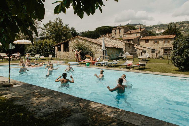 Groomsmen Wedding Morning in the Pool   Monastery Wedding at Monastero San Silvistro Cortona Tuscany   Joe Burford Photography