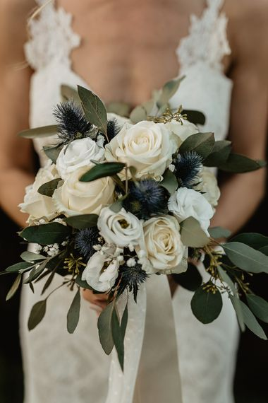White Rose & Green Bouquet   Monastery Wedding at Monastero San Silvistro Cortona Tuscany   Joe Burford Photography
