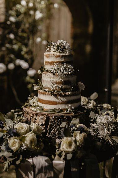Semi Naked Wedding Cake with Floral Decor   Monastery Wedding at Monastero San Silvistro Cortona Tuscany   Joe Burford Photography