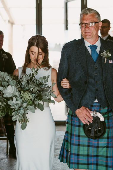 Ceremony   Styled, Humanist Wedding at The Cow Shed, Crail, Scotland   Foliage & Potted Plants decor with Cement and Glass Accents   Dress is Charlie Brear   Photography by Claire Fleck