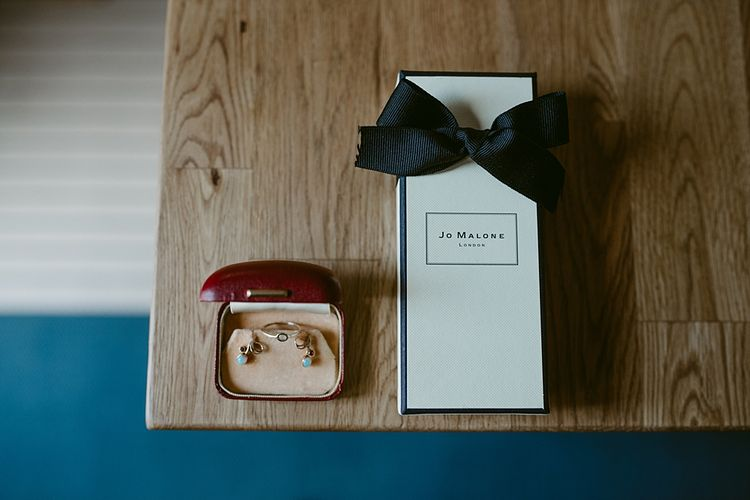 Heirloom Jewellery   Styled, Humanist Wedding at The Cow Shed, Crail, Scotland   Foliage & Potted Plants decor with Cement and Glass Accents   Dress is Charlie Brear   Photography by Claire Fleck