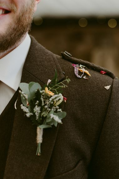 Button Hole from The Flower House   Styled, Humanist Wedding at The Cow Shed, Crail, Scotland   Foliage & Potted Plants decor with Cement and Glass Accents   Dress is Charlie Brear   Photography by Claire Fleck