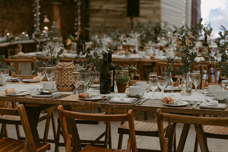 Table Styling   Humanist Wedding at The Cow Shed, Crail, Scotland   Foliage & Potted Plants decor with Cement and Glass Accents   Dress is Charlie Brear   Photography by Claire Fleck