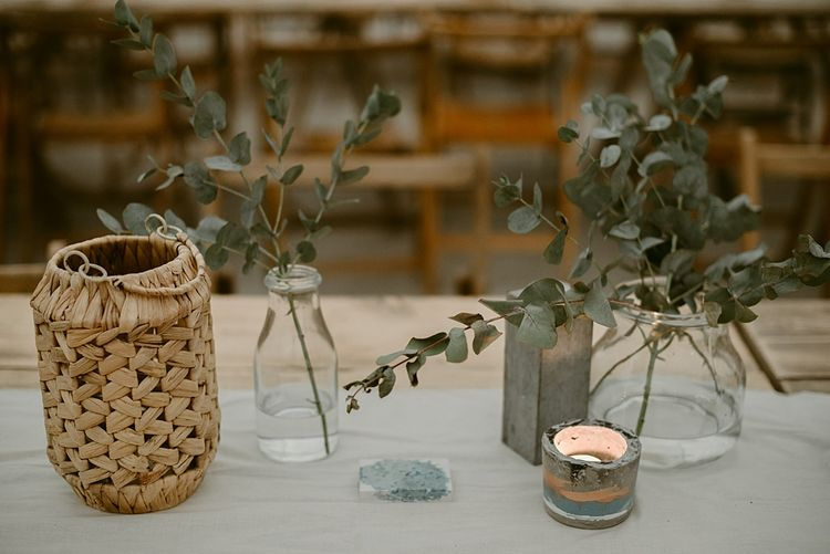 Styling and Props by TheLittle White Cow   Humanist Wedding at The Cow Shed, Crail, Scotland   Foliage & Potted Plants decor with Cement and Glass Accents   Dress is Charlie Brear   Photography by Claire Fleck
