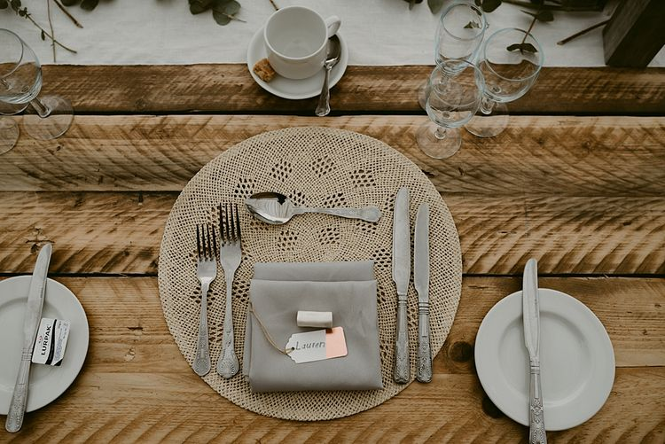 Place Setting   Styled, Humanist Wedding at The Cow Shed, Crail, Scotland   Foliage & Potted Plants decor with Cement and Glass Accents   Dress is Charlie Brear   Photography by Claire Fleck