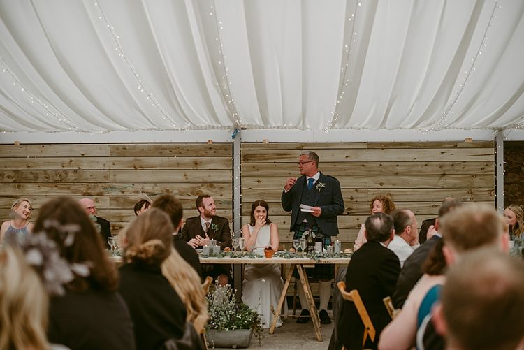 Speeches   Styled, Humanist Wedding at The Cow Shed, Crail, Scotland   Foliage & Potted Plants decor with Cement and Glass Accents   Dress is Charlie Brear   Photography by Claire Fleck