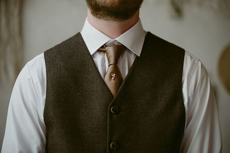 Heirloom Tie Pin   Styled, Humanist Wedding at The Cow Shed, Crail, Scotland   Foliage & Potted Plants decor with Cement and Glass Accents   Dress is Charlie Brear   Photography by Claire Fleck