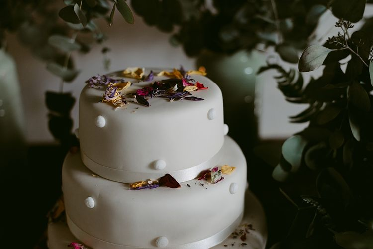 Marks and Spencer Cake   Styled, Humanist Wedding at The Cow Shed, Crail, Scotland   Foliage & Potted Plants decor with Cement and Glass Accents   Dress is Charlie Brear   Photography by Claire Fleck