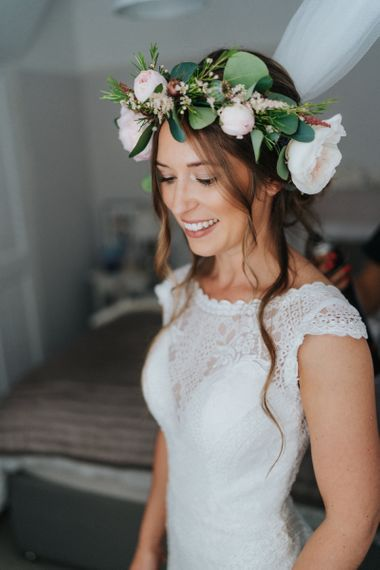 Bridal beauty with flower crown