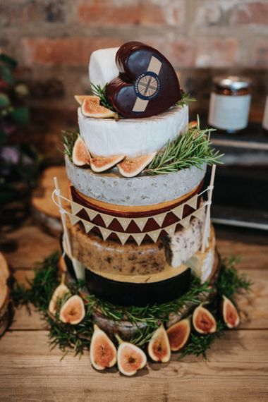 Cheese tower at rustic barn wedding